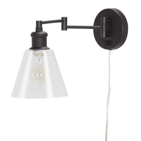 globe electric 1light dark bronze plugin industrial wall sconce walmart canada