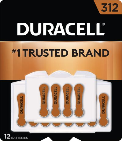Duracell Hearing Aid Zinc Air Batteries with Easy-Fit Tab, Size 312, 12 Pack - image 1 of 4