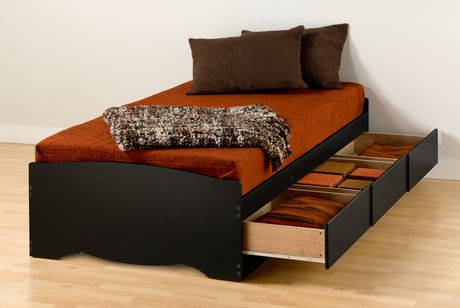 prepac base de lit plateforme avec 3 tiroirs de rangement simple xl. Black Bedroom Furniture Sets. Home Design Ideas
