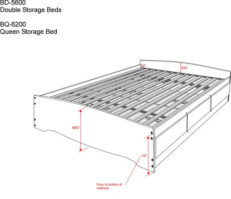 Prepac Full Double Size Platform Storage Bed With 6 Drawers