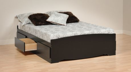 prepac base de lit plateforme avec 6 tiroirs de rangement double. Black Bedroom Furniture Sets. Home Design Ideas
