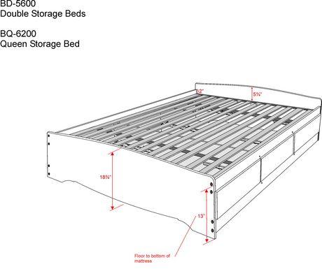 prepac base de lit plateforme avec 6 tiroirs de rangement. Black Bedroom Furniture Sets. Home Design Ideas