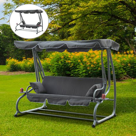 Outsunny Heavy-duty Metal 3 Seater Covered Outdoor Swing ...