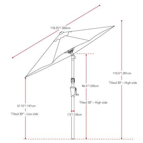 parasol inclinable corliving de 10 pi en vert r sistant au. Black Bedroom Furniture Sets. Home Design Ideas