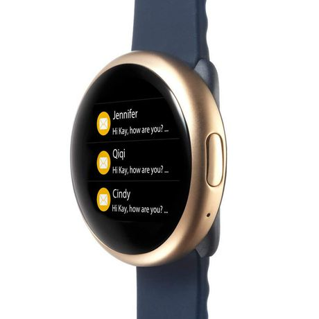 MyKronoz ZeRound2 Smartwatch with Circular Color Touchscreen, Pink Gold/Mignight Blue Silicone Band - image 3 of 4