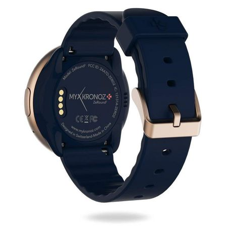 MyKronoz ZeRound2 Smartwatch with Circular Color Touchscreen, Pink Gold/Mignight Blue Silicone Band - image 4 of 4