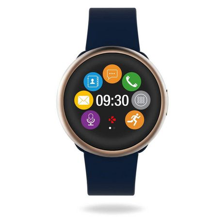MyKronoz ZeRound2 Smartwatch with Circular Color Touchscreen, Pink Gold/Mignight Blue Silicone Band - image 2 of 4