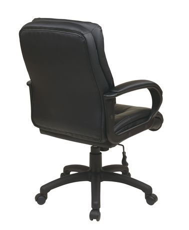 Office Star Work Smart Mid Back Black Faux Leather Executive Chair With Padde