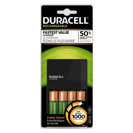 duracell 1000 ion speed rechargeable battery charger. Black Bedroom Furniture Sets. Home Design Ideas