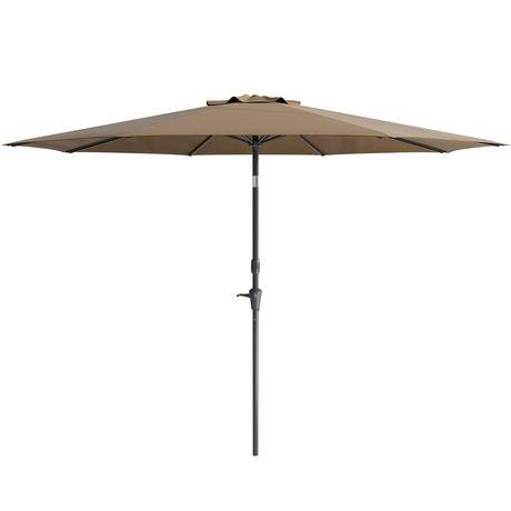 parasol inclinable corliving de 10 pi en brun r sistant au vent pour patio. Black Bedroom Furniture Sets. Home Design Ideas