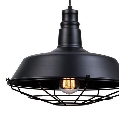 Pendentif suspendu à 1 lumière, collection Damon, fini noir mat, cordon électrique noir - image 2 de 6