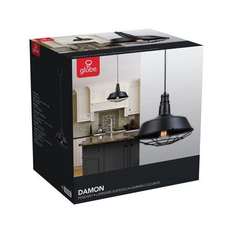 Pendentif suspendu à 1 lumière, collection Damon, fini noir mat, cordon électrique noir - image 6 de 6