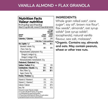 Nature's Path Natures Path Organic Flax Vanilla Almond Granola Cereal - image 2 of 3