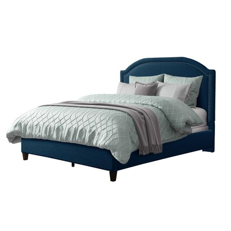 CorLiving  Fabric Bed Frame with Arched Headboard and Nailhead Trim Accents - image 1 of 8