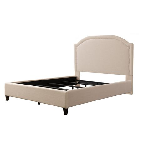 CorLiving  Fabric Bed Frame with Arched Headboard and Nailhead Trim Accents - image 2 of 8