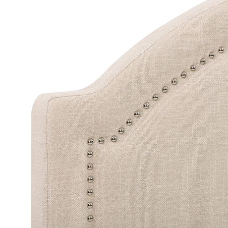 CorLiving  Fabric Bed Frame with Arched Headboard and Nailhead Trim Accents - image 4 of 8