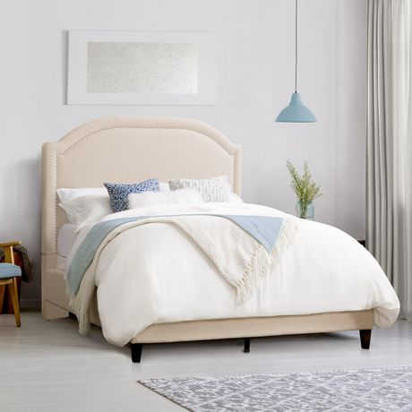CorLiving  Fabric Bed Frame with Arched Headboard and Nailhead Trim Accents - image 3 of 8