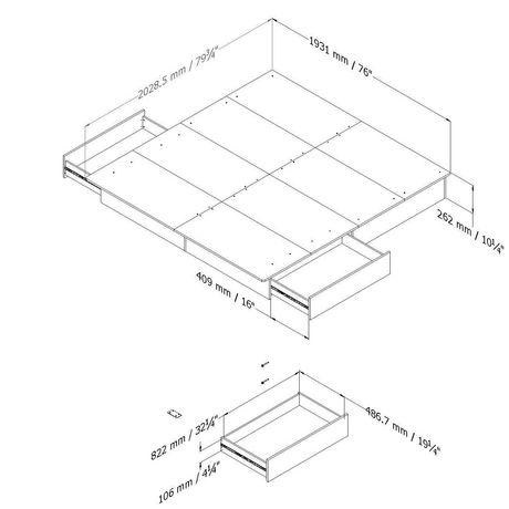 lit plate forme avec tiroirs collection soho de meubles south shore tr s grand 78 po. Black Bedroom Furniture Sets. Home Design Ideas