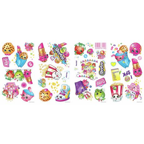 Roommates shopkins peel and stick wall decals walmart canada for Peel and stick wallpaper walmart