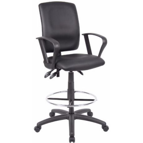 Nicer Furniture Leatherette Ergonomic Black Drafting Chair with Arms - image 1 of 1