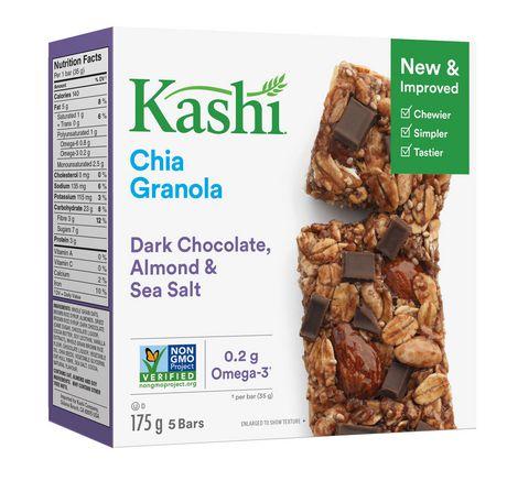 Kashi Barres granola au chia, Chocolat noir amandes et sel de mer, 175g, 5 barres - image 4 de 5