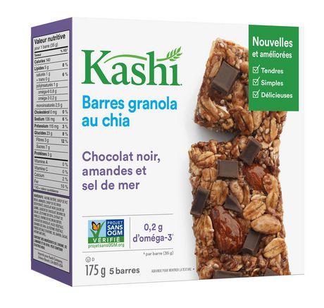Kashi Barres granola au chia, Chocolat noir amandes et sel de mer, 175g, 5 barres - image 2 de 5