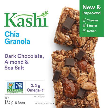 Kashi Barres granola au chia, Chocolat noir amandes et sel de mer, 175g, 5 barres - image 3 de 5