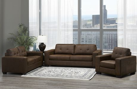 Brassex Skylar 3 Piece Sofa Set Brown Walmart Canada