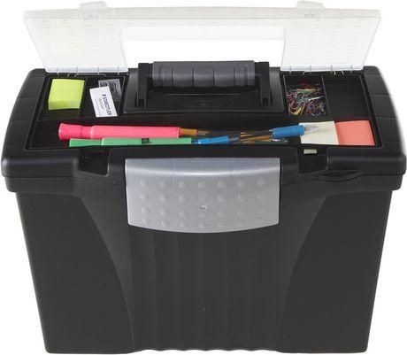 Storex Portable File Box Organizer Inside Lid Letter