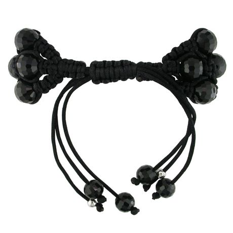Bracelet de soie noire macramé Asteria avec zircon cubique et billes noirs - image 2 de 2