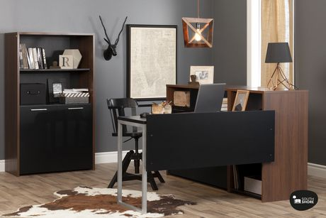 Bureau de travail avec rangement en noyer brun et noir tasko de