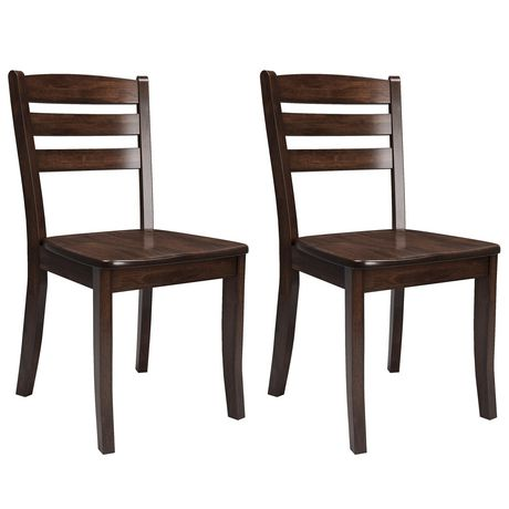 CorLiving Dillon Horizontal Slat Backrest Cappuccino Solid Wood Dining Chairs, Set of 2 - image 1 of 9