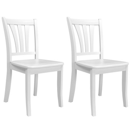 Corliving Dillon Curved Vertical Slat Backrest White Solid Wood Dining Chairs Set Of 2