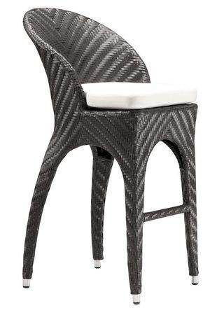 Chaise De Bar 1 Pice En Osier Synthtique Pour Extrieur Corona Zuo Modern Expresso Et Beige