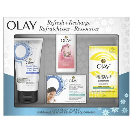 Olay Pore Mineral Cleanser, All Day Moisturizer, Body Wash & Daily Facial Cloths Gift Set - image 1 of 2