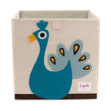 Boîte de rangement 3 Sprouts pour enfants à motif de paon - image 1 de 1