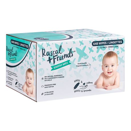 Rascal + Friends Sensitive Baby Wipes -9 Pack - image 1 of 8