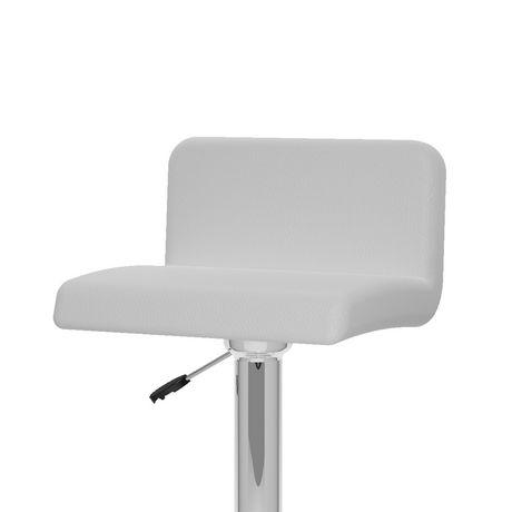 CorLiving B-317-UPD Low Back Adjustable Bar Stool Set of 2 White Leatherette