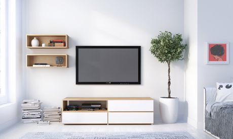 Trilogy 60-inch TV Stand, White & Natural Maple - image 4 of 4