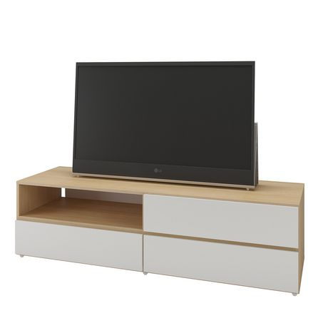 Trilogy 60-inch TV Stand, White & Natural Maple - image 1 of 4