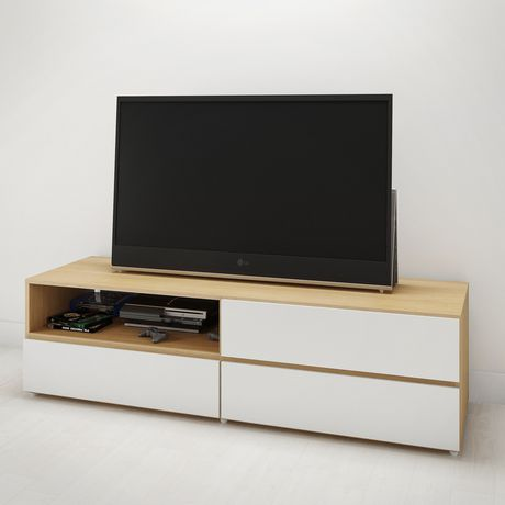 Trilogy 60-inch TV Stand, White & Natural Maple - image 2 of 4
