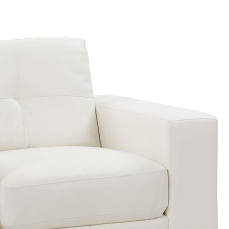 Corliving Club White Bonded Leather 3 Piece Sofa Set