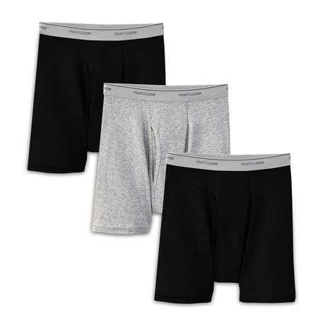 Black /& Grey Fruit of the Loom Mens Boxer Briefs 4 Pack 3X-Large