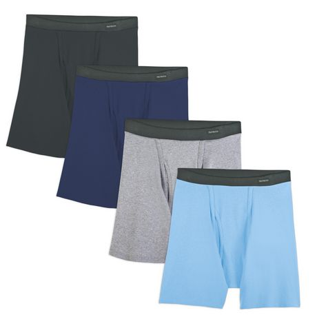 Pack of 4 Fruit of the Loom Mens Big  Covered Waistband Boxer Brief