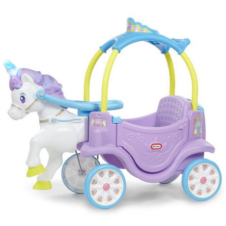 Plastic white and purple-maned unicorn pulling a plastic purple, blue and yellow chariot, made by Little Tikes
