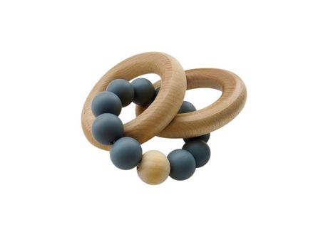 Tiny Teethers Rattle Teething Ring: Silicone And Beech Wood Teether - image 1 of 1