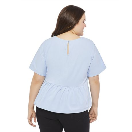 George Plus Women's Peplum Eyelet Top - image 3 of 6