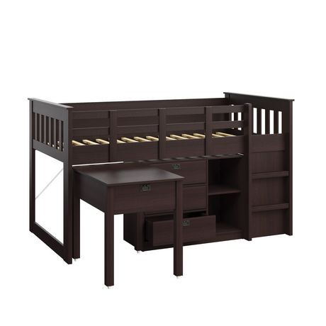corliving madison collection all in one single twin size rich espresso loft bed walmart canada. Black Bedroom Furniture Sets. Home Design Ideas