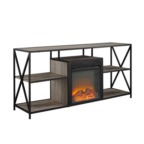 """Manor Park Modern Industrial Fireplace TV Stand for TV's up to 66""""- Grey Wash - image 4 of 9"""