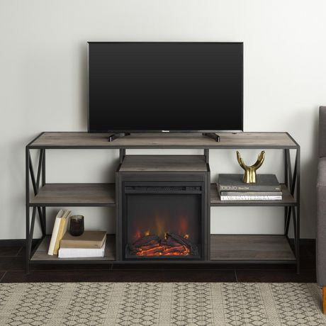 """Manor Park Modern Industrial Fireplace TV Stand for TV's up to 66""""- Grey Wash - image 1 of 9"""